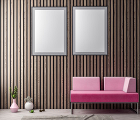 Mock up poster frame in hipster interior background in pink colors and wood wall planks, 3D illustration