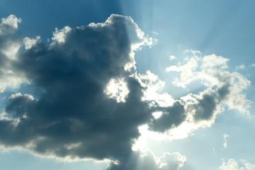 sun and cloud in blue sky