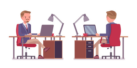 Male office secretary busy with computer work