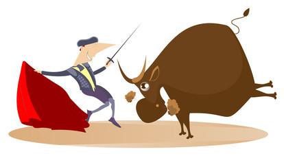 Cartoon bullfighter and angry bull illustration. Cartoon bullfighter with matador cape and sword and angry bull isolated on white illustration