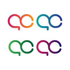Initial Letter AC Logo Set Vector Design