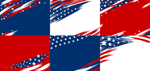 Set of USA banner abstract background design of american flag vector illustration