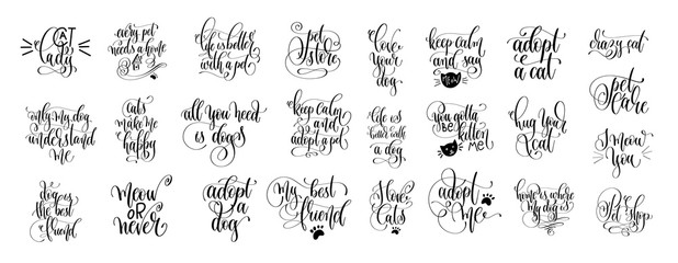 Poster Positive Typography set of 25 hand lettering positive quote about cat and dog
