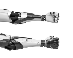 3d rendering of two robot arms with tight fists shown from front and back sides of the hand.