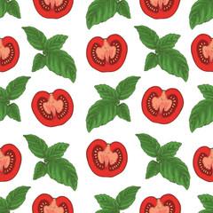 Seamless Pattern. Tomatoes and Basil