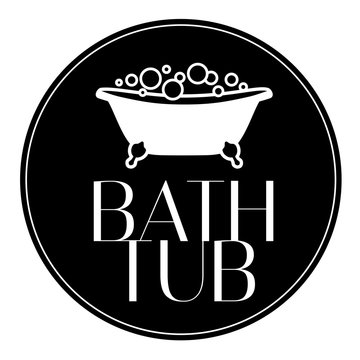 Isolated logo icon Bath tub with bubbles. Vector illustration on white background black and white