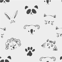 Seamless pattern of cute animal faces for t shirt, notebooks, card, fabric, fashion design. Trendy illustration tablet drawing freehand, imitation of children s drawings. Doodle art