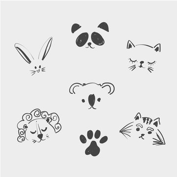Set of cute animal faces for t shirt, notebooks, card, fabric, fashion design. Trendy vector illustration drawing with a tablet. Handdrawn, freehand, imitation of children s drawings. Doodle art