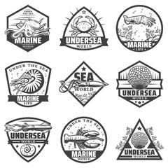 Vintage Monochrome Marine Animals Labels Set