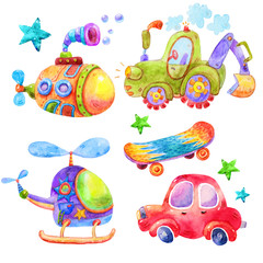 Cartoon Watercolor kids set in cartoon childish toys style of car,submarine,tractor,helicopter,skateboard,stars illustration isolated on white background.Perfect for childrens book,shop,print,design