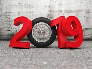 New Year 2019 Creative Design Concept with wheel - 3D Rendered Image