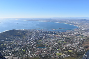 View over Cape Town from the big Table Mountain in South Africa