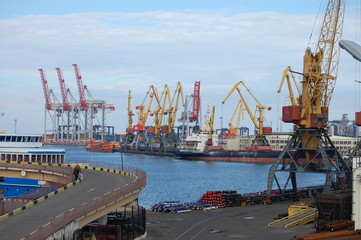 large cargo ships in the port with cranes