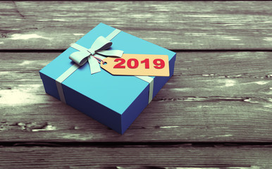 New Year 2019 Creative Design Concept with Gift Box and Tag - 3D Rendered Image