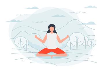 Vector illustration - girl in yoga lotus pose.