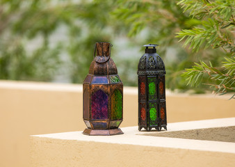 Ornamental  Moroccan, Arabic lantern . Greeting card for Muslim holy month Ramadan Kareem. Festive background.