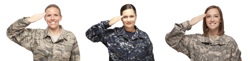 Female servicewomen saluting