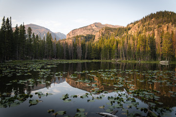 A lake in Rocky Mountain National Park during a summer sunrise.