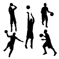 vector of silhouette basketball player in action