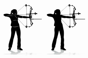 silhouette of a archer , vector draw