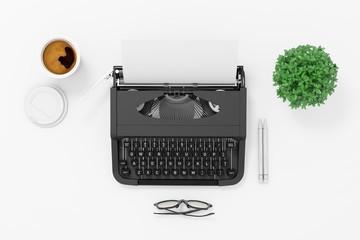3d typerwriter on white background