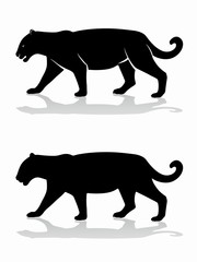 silhouette of panther , vector draw