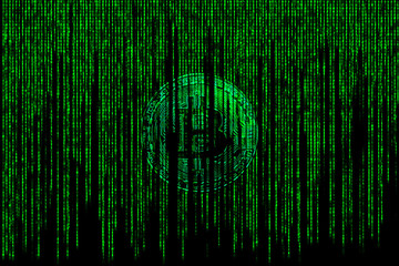 Bitcoin silver metallic coin in  chip background with binary code of matrix effect