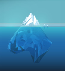 Iceberg polygonal illustration, sea ice berg, underwater ice, abstract polygon ice floe, glacier vector picture.