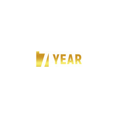 7 year, happy birthday gold logo on white background, corporate anniversary vector minimalistic sign, greeting card template.