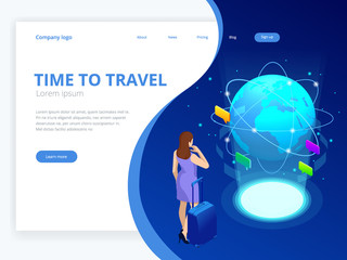 Isometric web banner businesswomen hold Luggage business trip. Travel to World. Road trip. Tourism. Landmarks on the globe. Concept website template. Vector illustration.