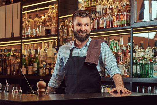 Stylish bearded bartender in a shirt and apron standing at bar counter background.