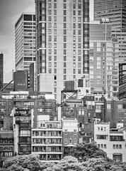 Black and white picture of the New York City architecture, USA.