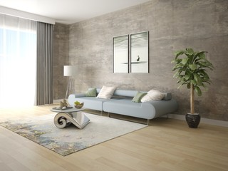 Mock up a trendy living room with a stylish comfortable sofa and hipster background.