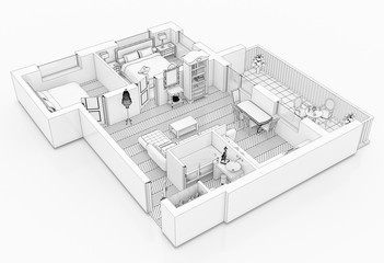Line drawing floor plan on a white background, Mock up of furnished home apartment