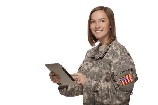 Woman Army Soldier with tablet and smiling.