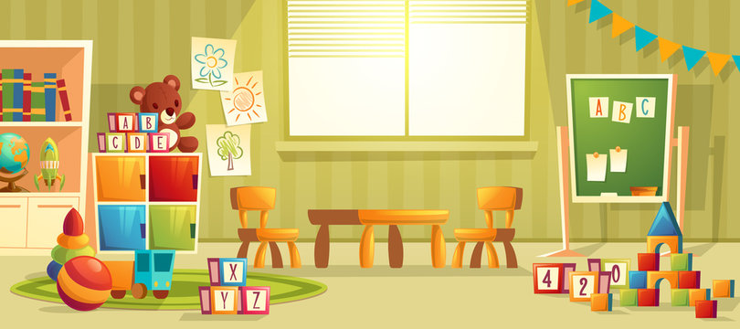 Vector cartoon illustration of empty kindergarten room with furniture and toys for young children. Nursery school for learning kids, modern interior of playroom for fun and playing games