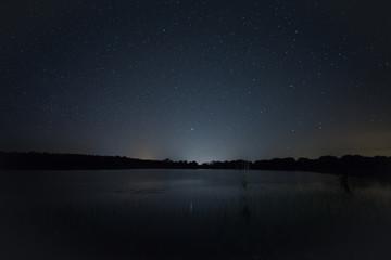 Night landscape near Montehermoso. Extremadura. Spain