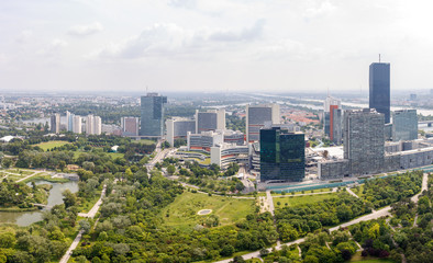Panoramic view of UNO city in Vienna, Austria.