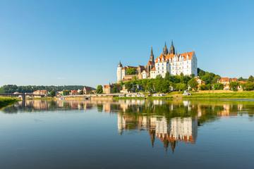 Meißen, Stadtansicht mit Albrechtsburg und Elbe