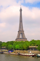 view of the Eiffel Tower and river Seine in Paris
