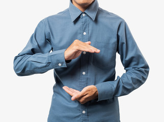 Business man hand holding somethings for montage your product with blue 100% cotton shirt.