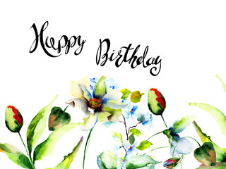 Flowers watercolour illustration with title Happy Birthday
