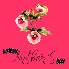 Beautiful flowers with title Happy Mothers day