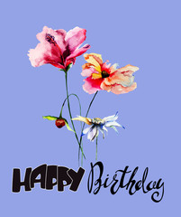 Beautiful flowers with title Happy Birthday