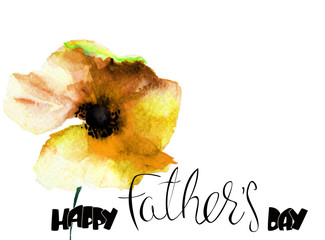 Poppy flower with title Happy Fathers day