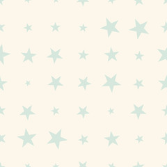 Pastel mint and white halftone seamless star abstract background. Infinity geometric pattern. Vector illustration.