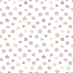 Seamless pattern with hand drawn stars on white background. Sky background. Vector illustration.
