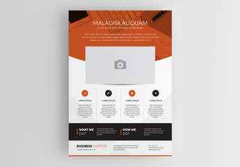 Flyer Layout with Orange Overlay