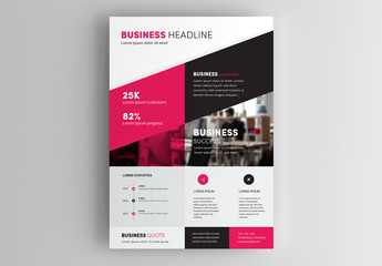 Business Flyer Layout with Red And Black Accents