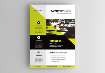 Flyer Layout Cutted with Green Overlay